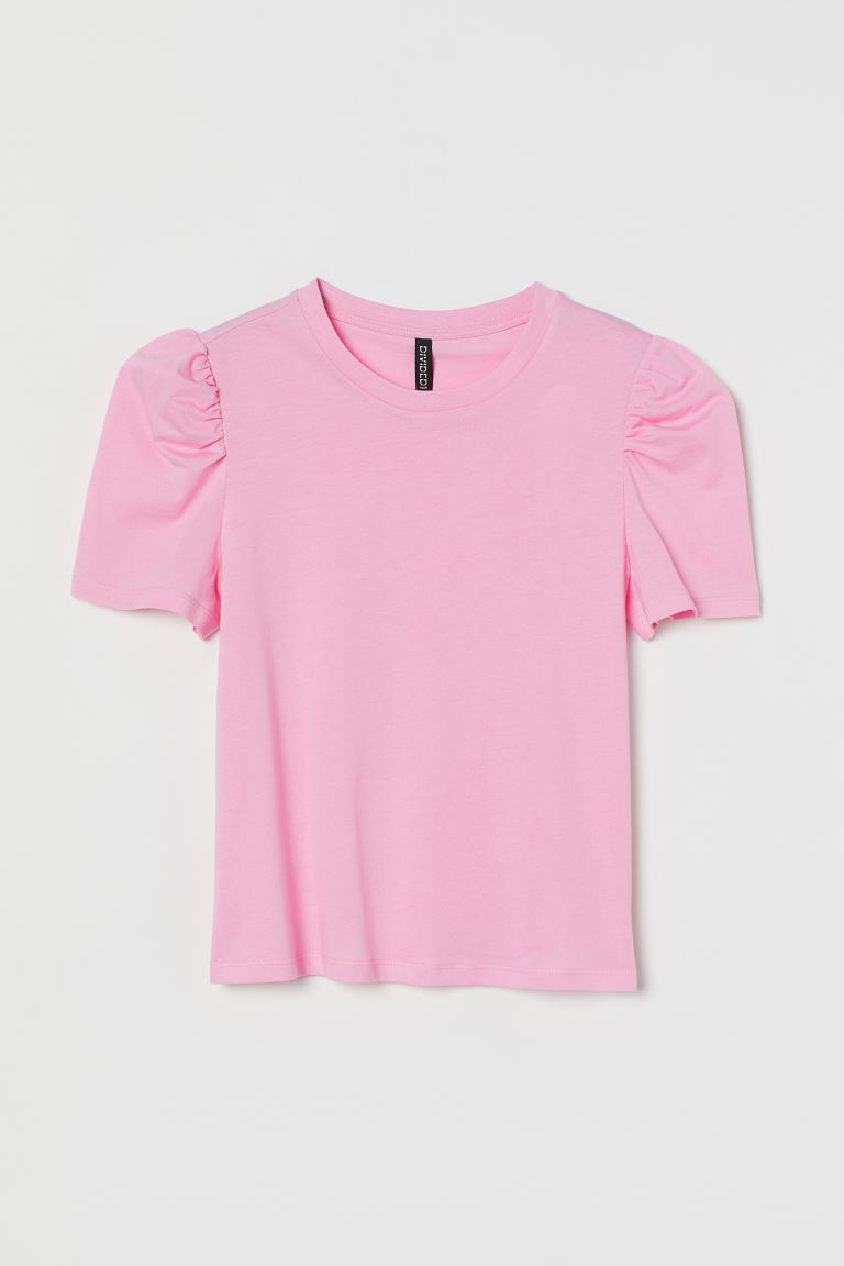 Puff-sleeved T-shirt - Light pink - Ladies | H&M US