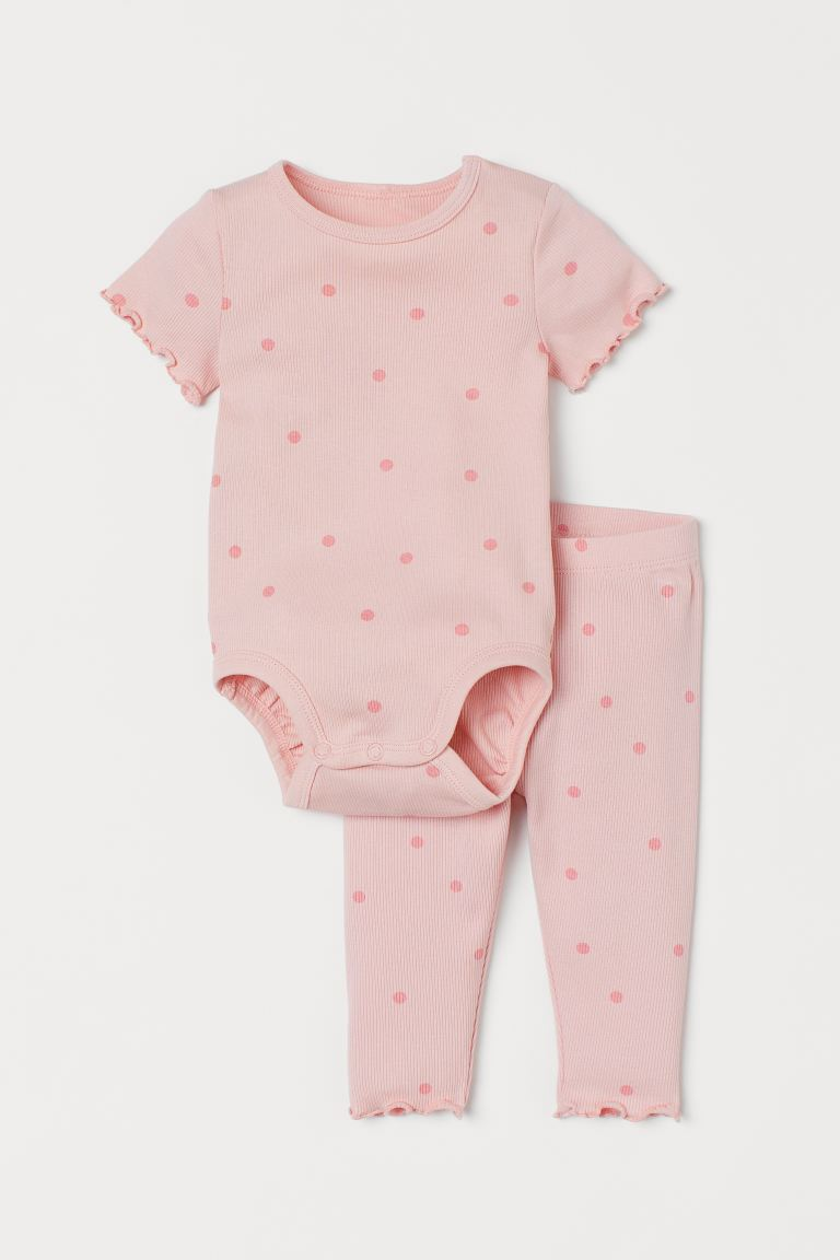 Ribbed Cotton Set - Light pink/dotted - Kids | H&M CA