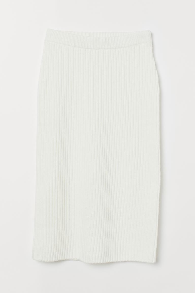 Rib-knit skirt - White - Ladies | H&M GB