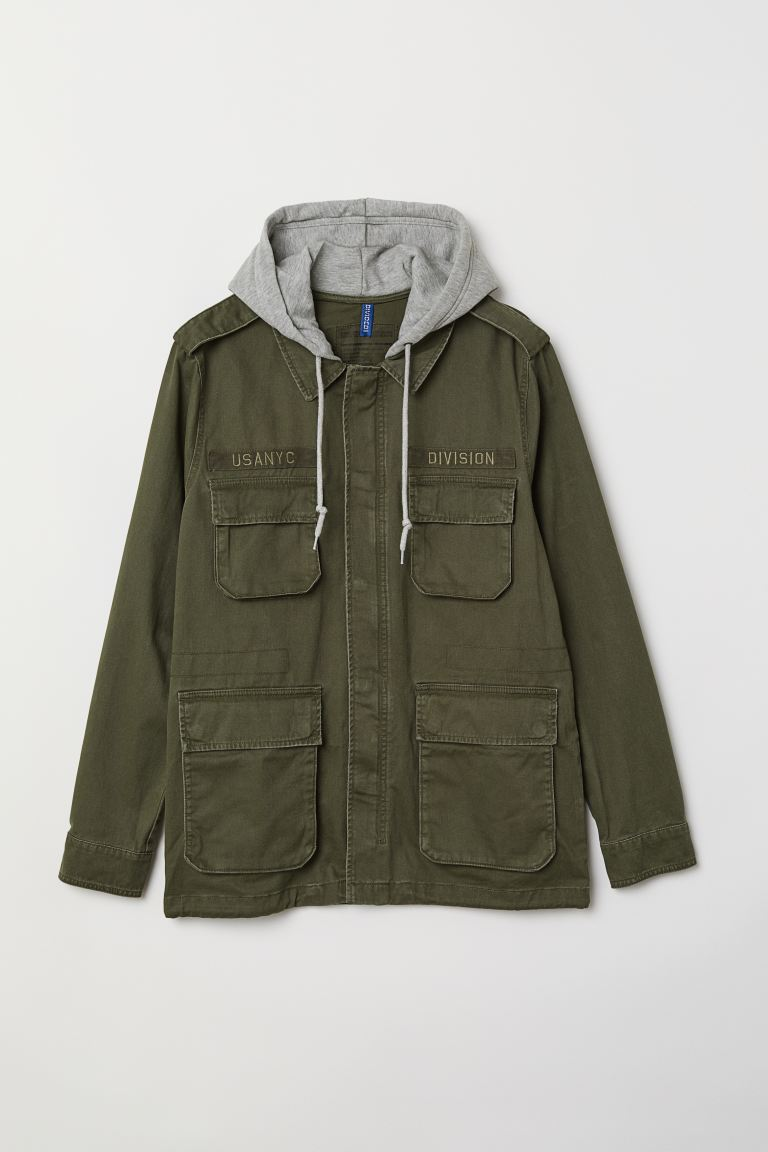 Short Parka with Hood - Khaki green - Men | H&M US