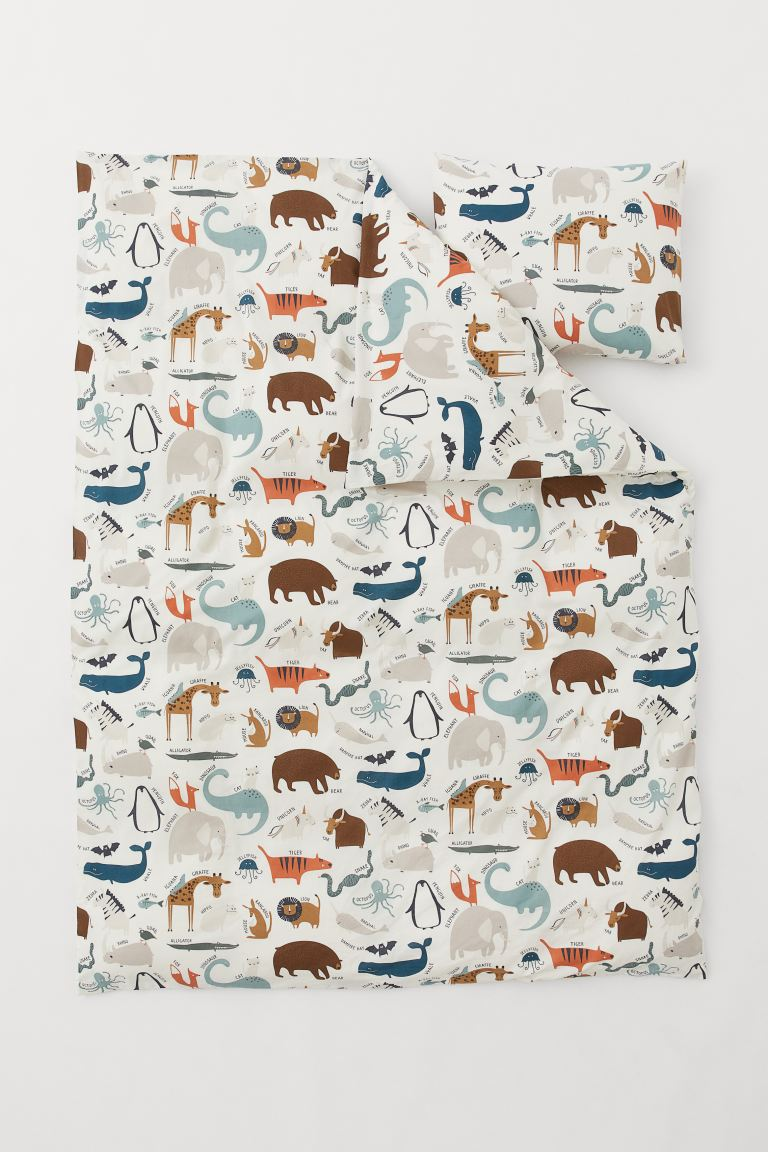 Cotton duvet cover set - White/Animals - Home All | H&M GB
