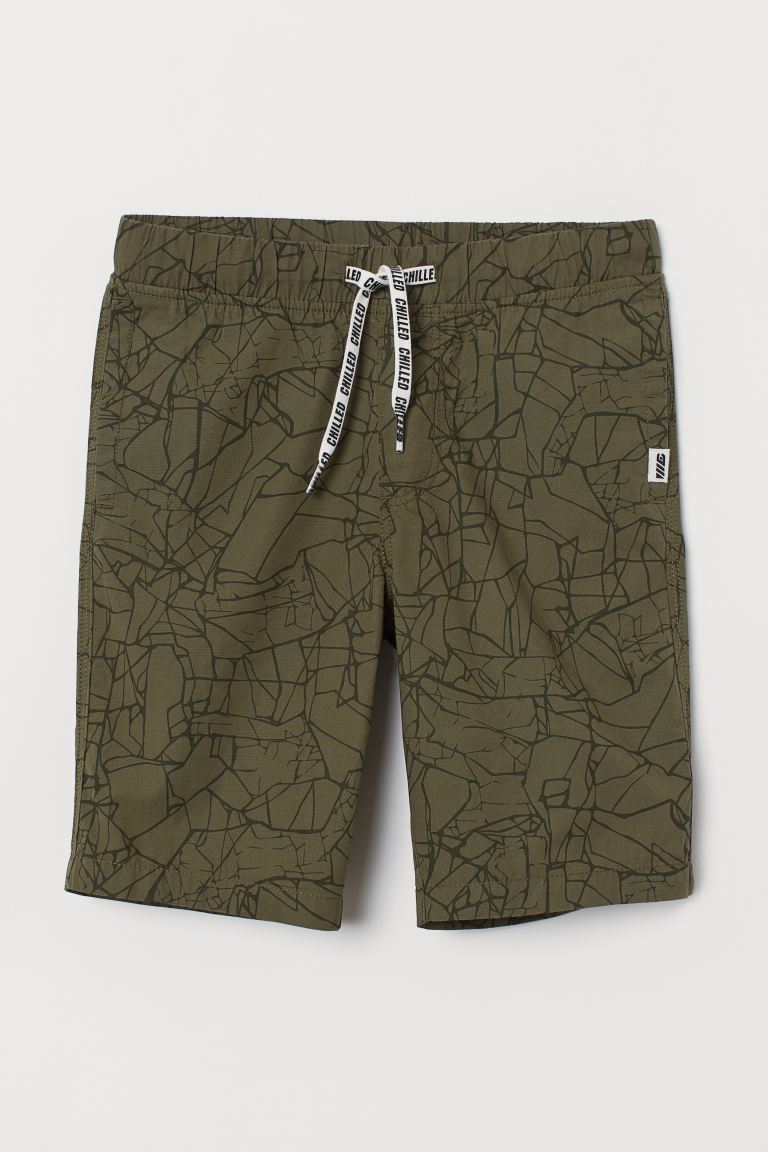 Cotton Shorts - Khaki green/patterned - Kids | H&M CA