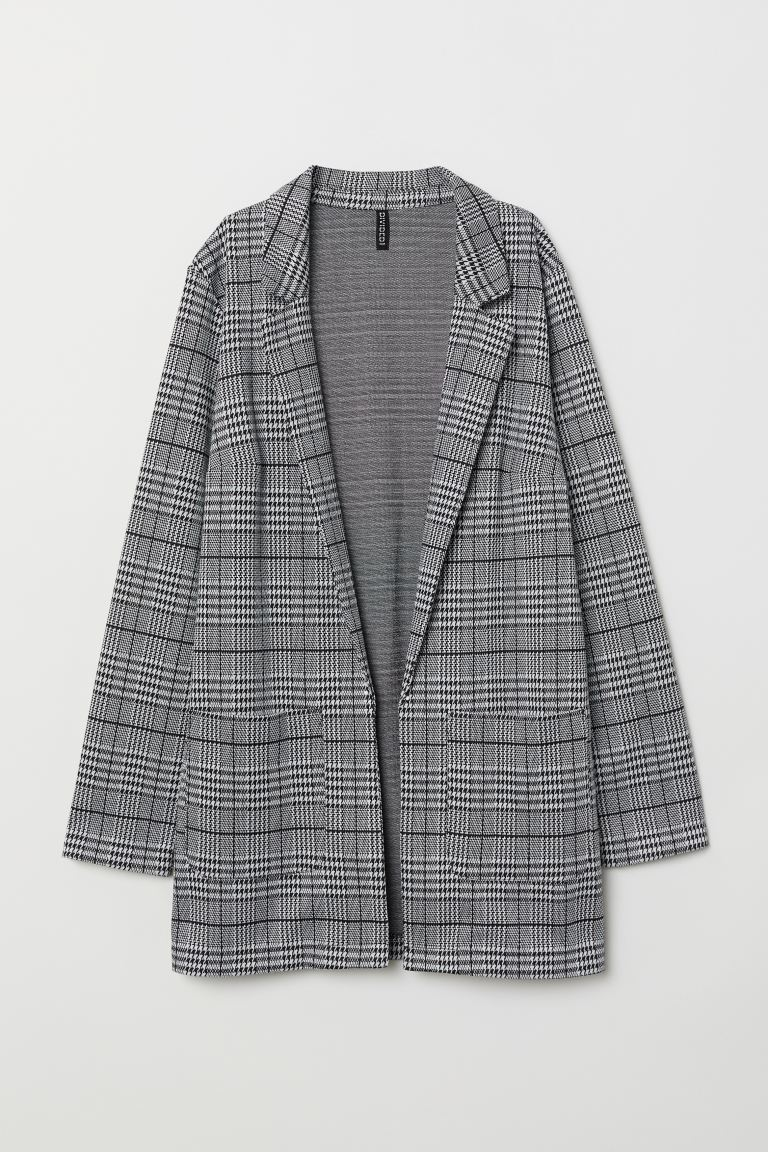 Long jacket - Black/Dogtooth-patterned - Ladies | H&M GB