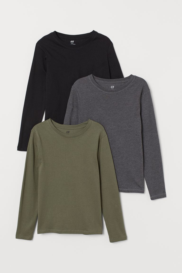 3-pack jersey tops - Dark green/Dark grey - Kids | H&M