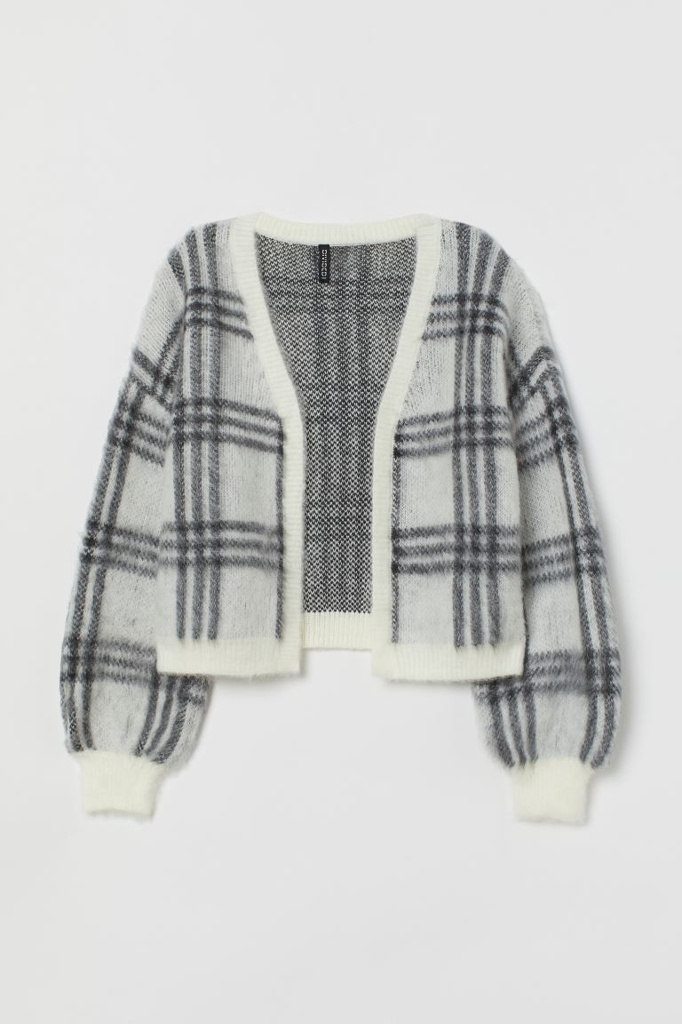 Fluffy cardigan - White/Black checked - Ladies | H&M IE