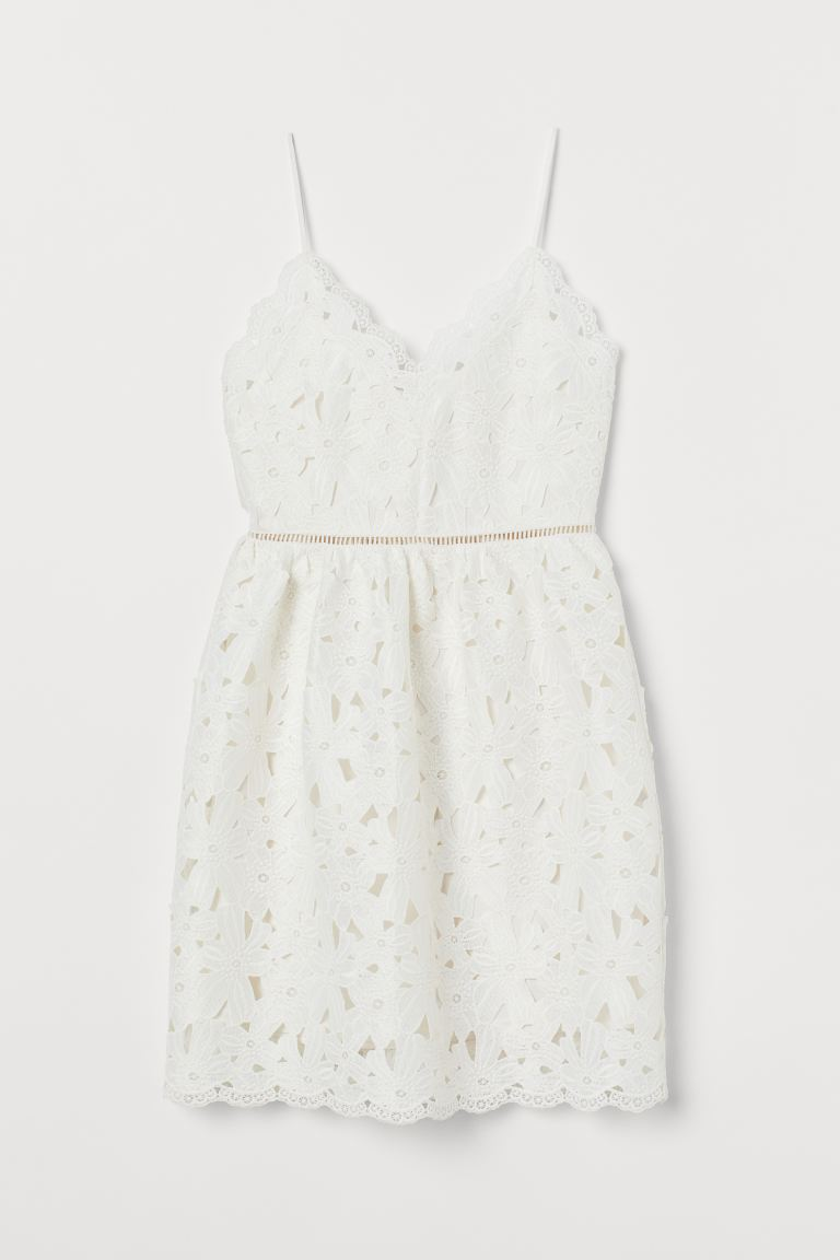 Lace V-neck dress - White - Ladies | H&M IN