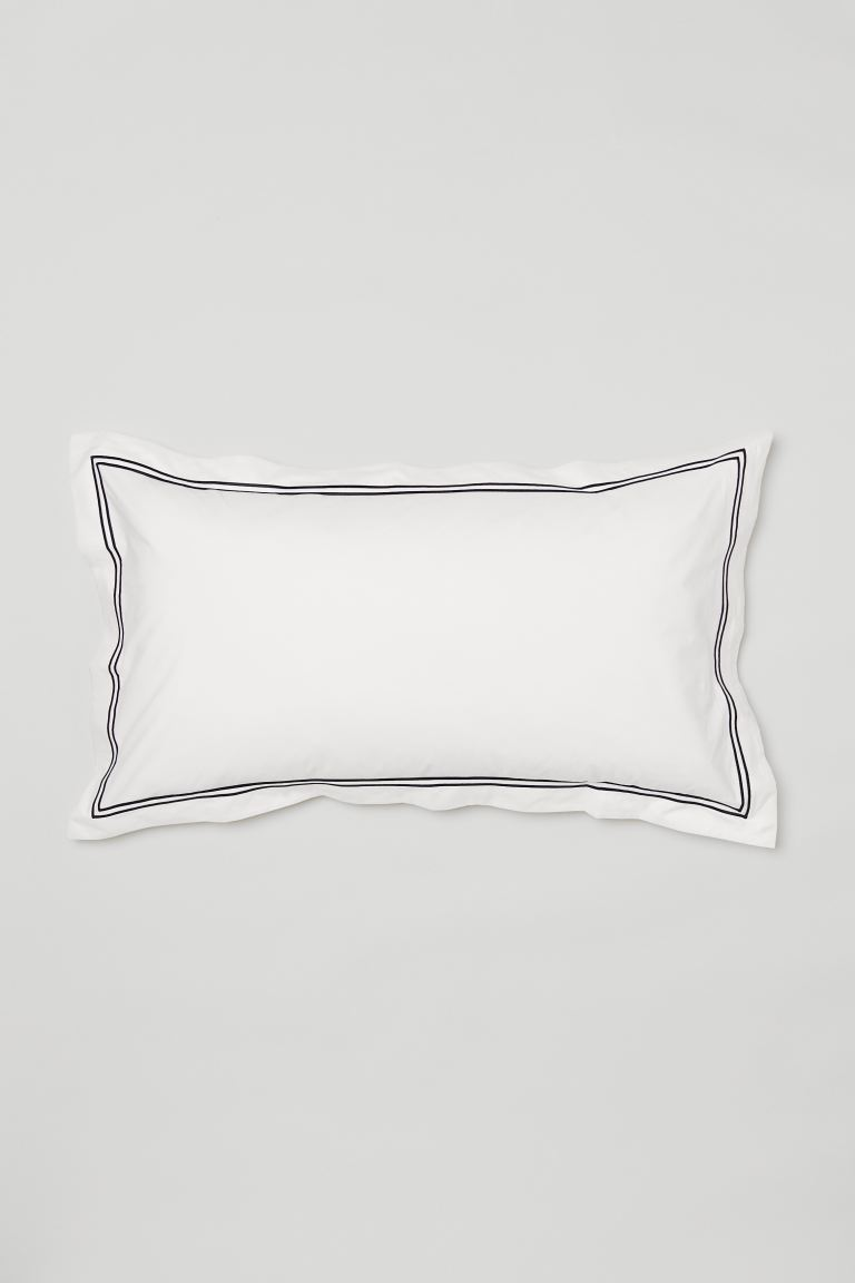Cotton percale pillowcase - White/Black - Home All | H&M GB