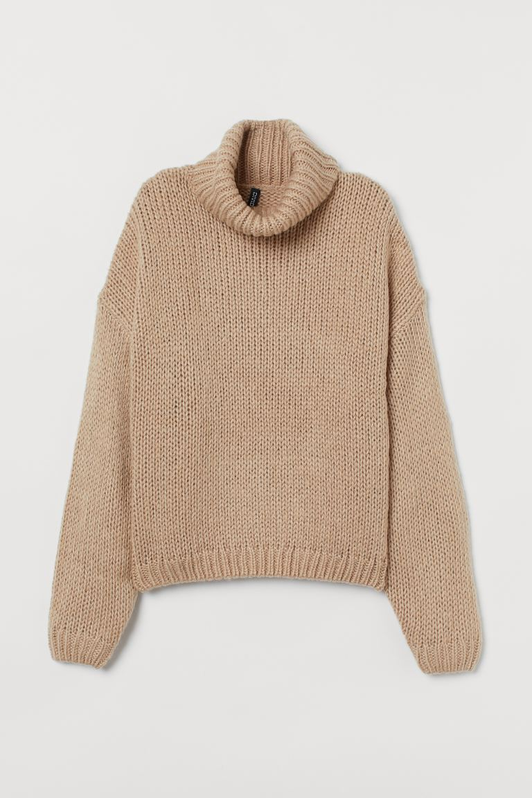 Chunky-knit Turtleneck Sweater - Beige - Ladies | H&M US