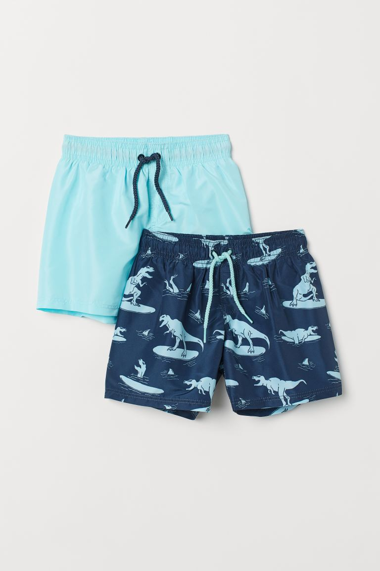 2-pack Swim Shorts - Dark blue/patterned - Kids | H&M US