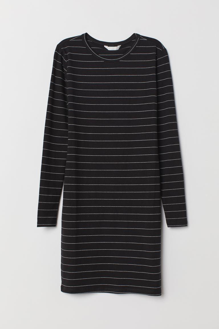 Fitted Dress - Black/white striped - Ladies | H&M CA