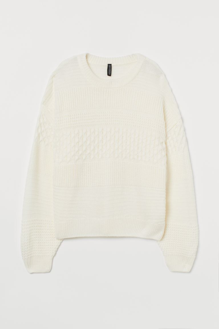 Textured-knit Sweater - White - Ladies | H&M US