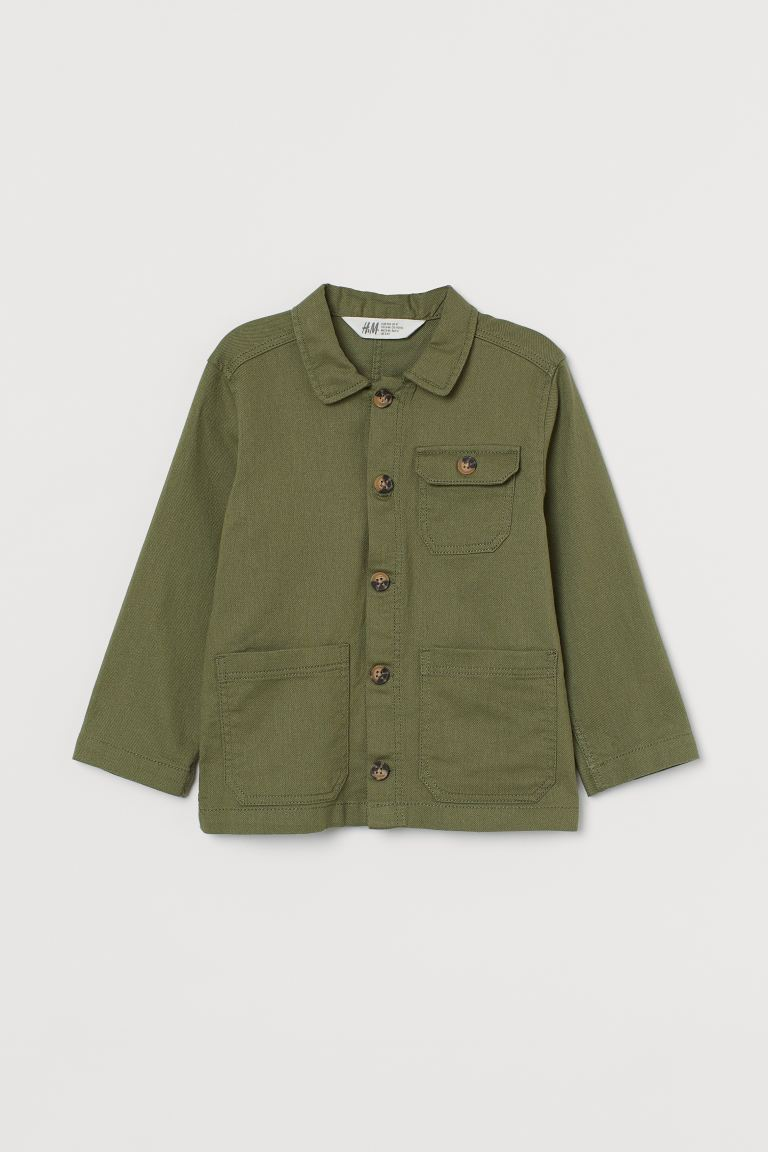 Twill shirt jacket - Khaki green - Kids | H&M GB