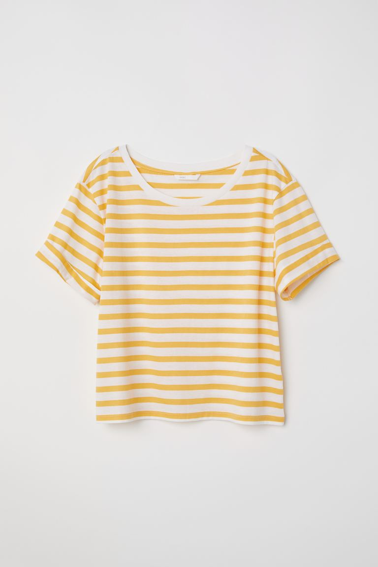 Wide T-shirt - White/Yellow striped - Ladies | H&M GB