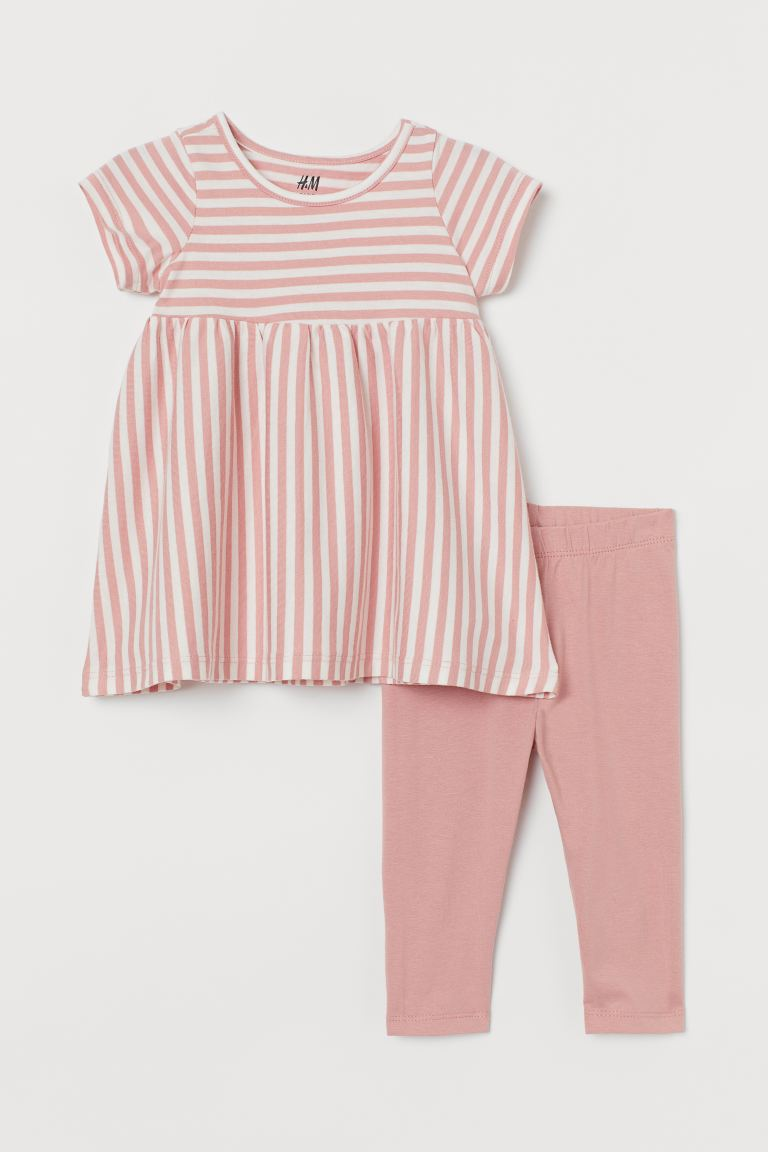 2-piece jersey set - Old rose/Striped - Kids | H&M