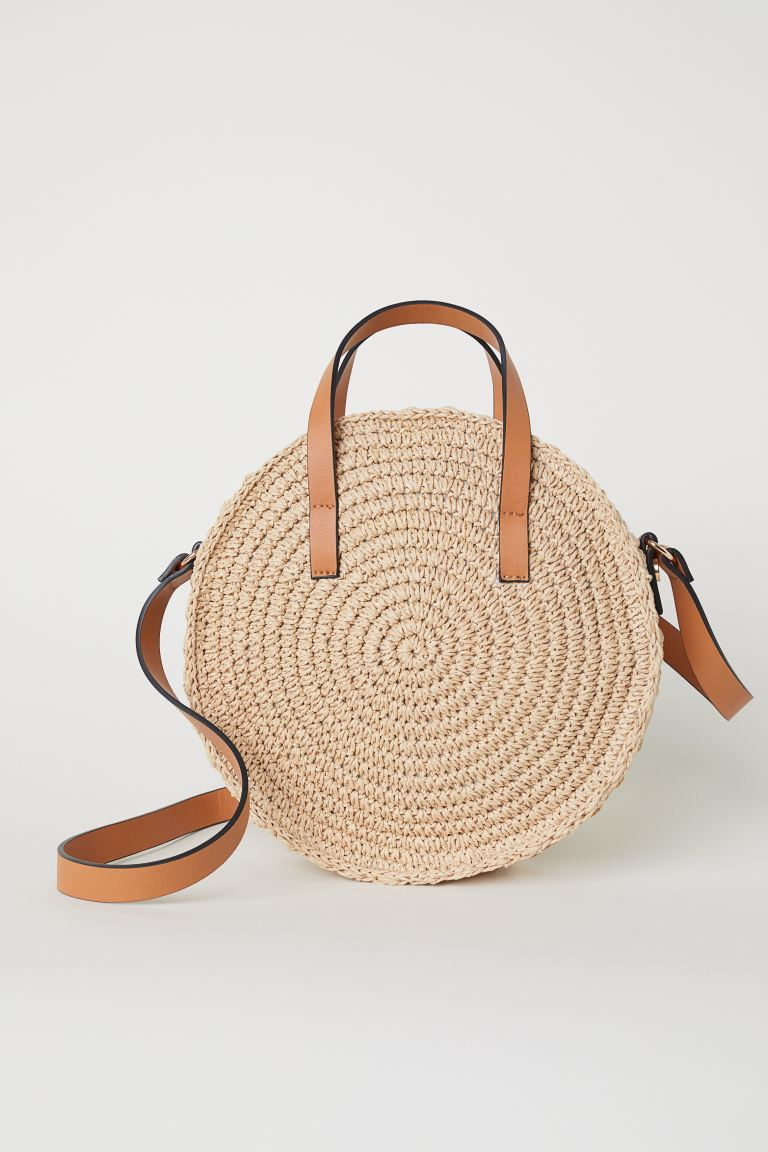Round paper straw handbag - Light beige - Ladies | H&M GB