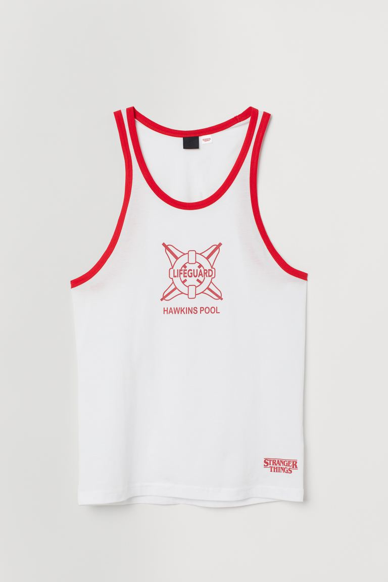 Tank Top with Printed Design - White/red - Men | H&M US