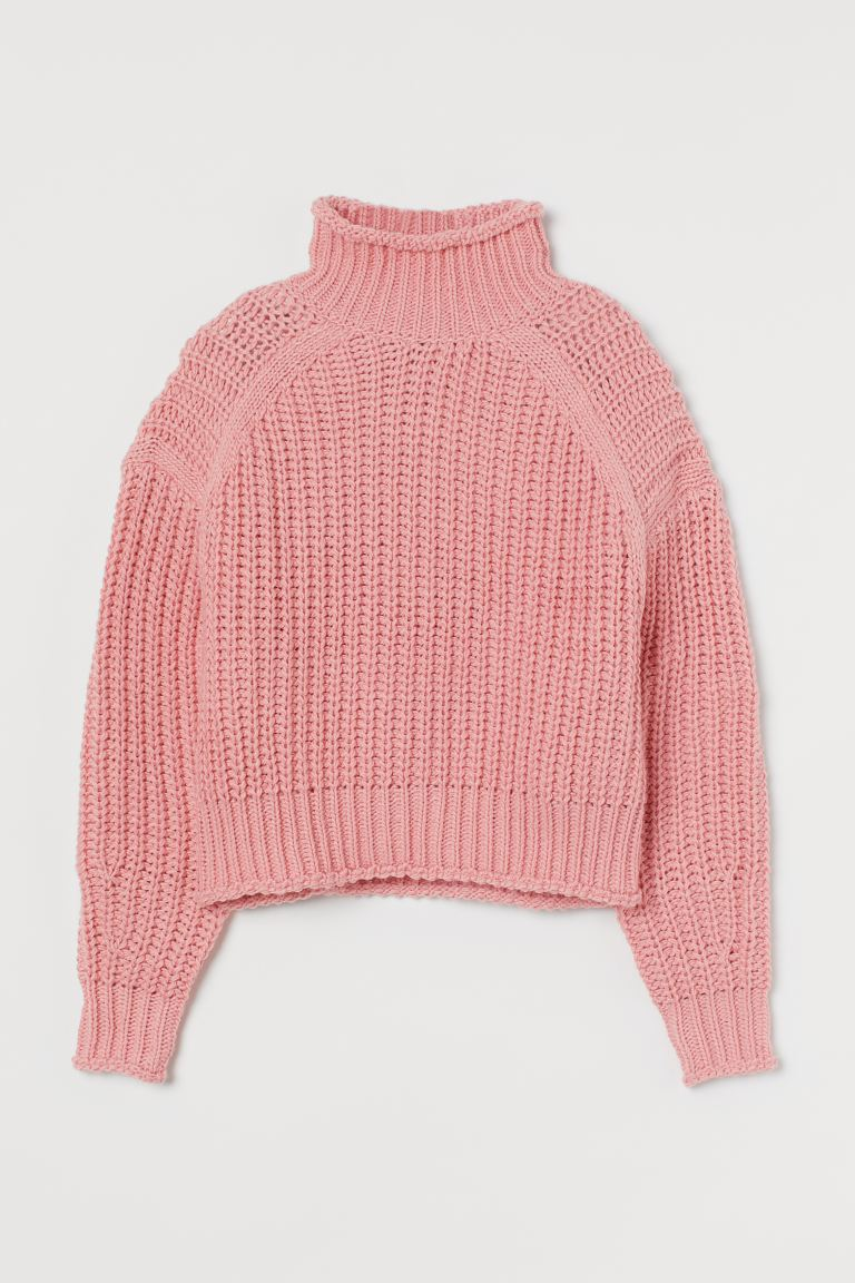 Suéter cuello alto acanalado - Rosa antiguo - Ladies | H&M MX