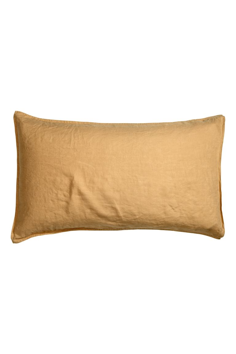 Washed linen pillowcase - Light mustard yellow - Home All | H&M GB