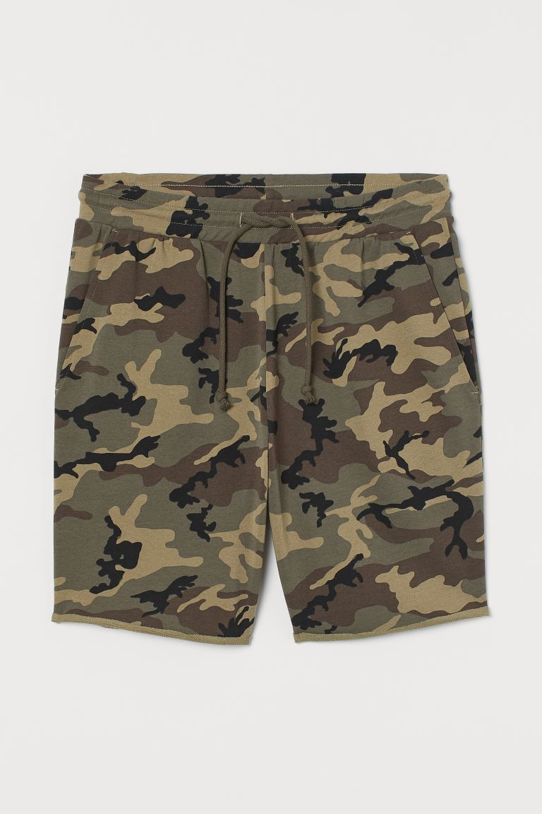 Dropped-gusset Sweatshorts - Dark khaki green/patterned - Men | H&M CA