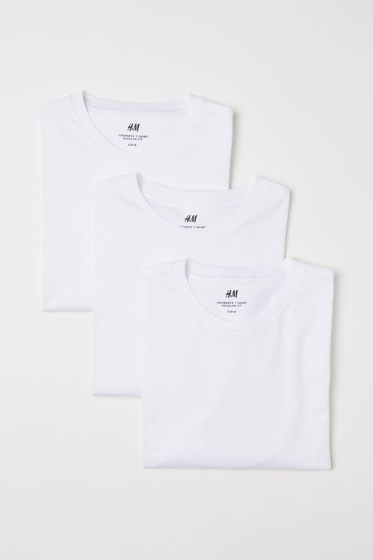 3-pack Regular Fit T-shirts - White - Men | H&M CA