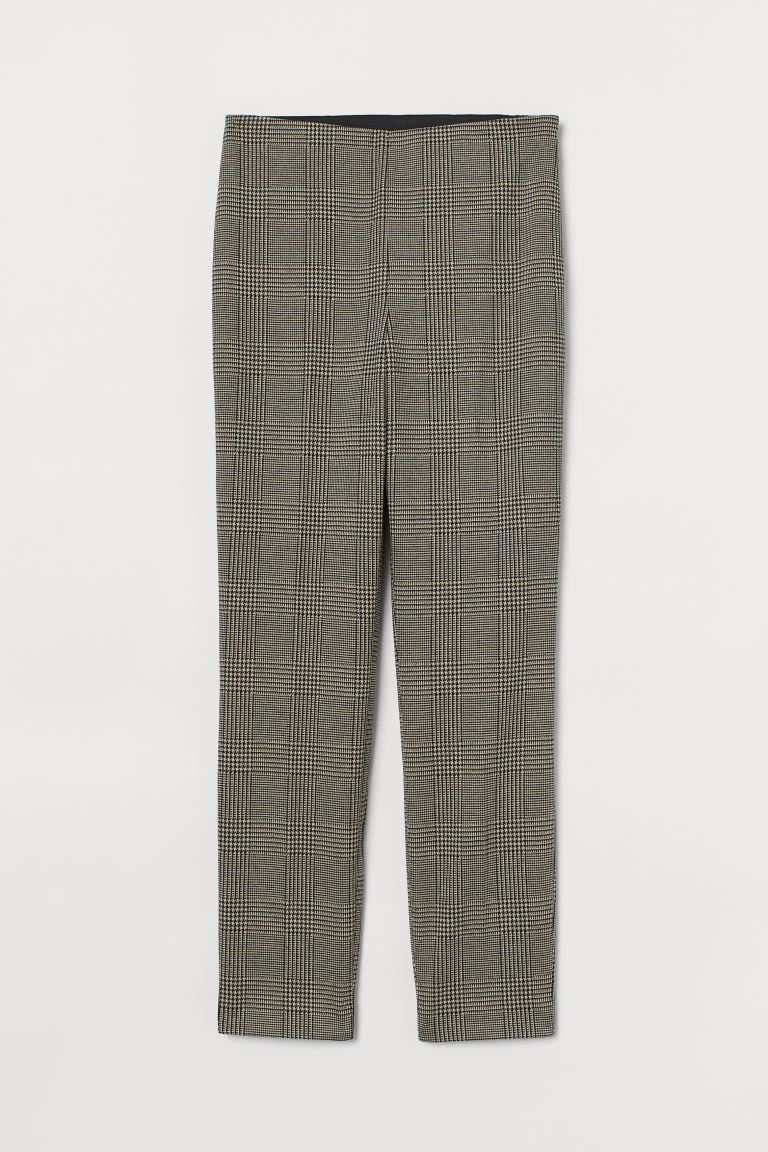 Tailored trousers - Beige/Dogtooth-patterned - Ladies | H&M GB