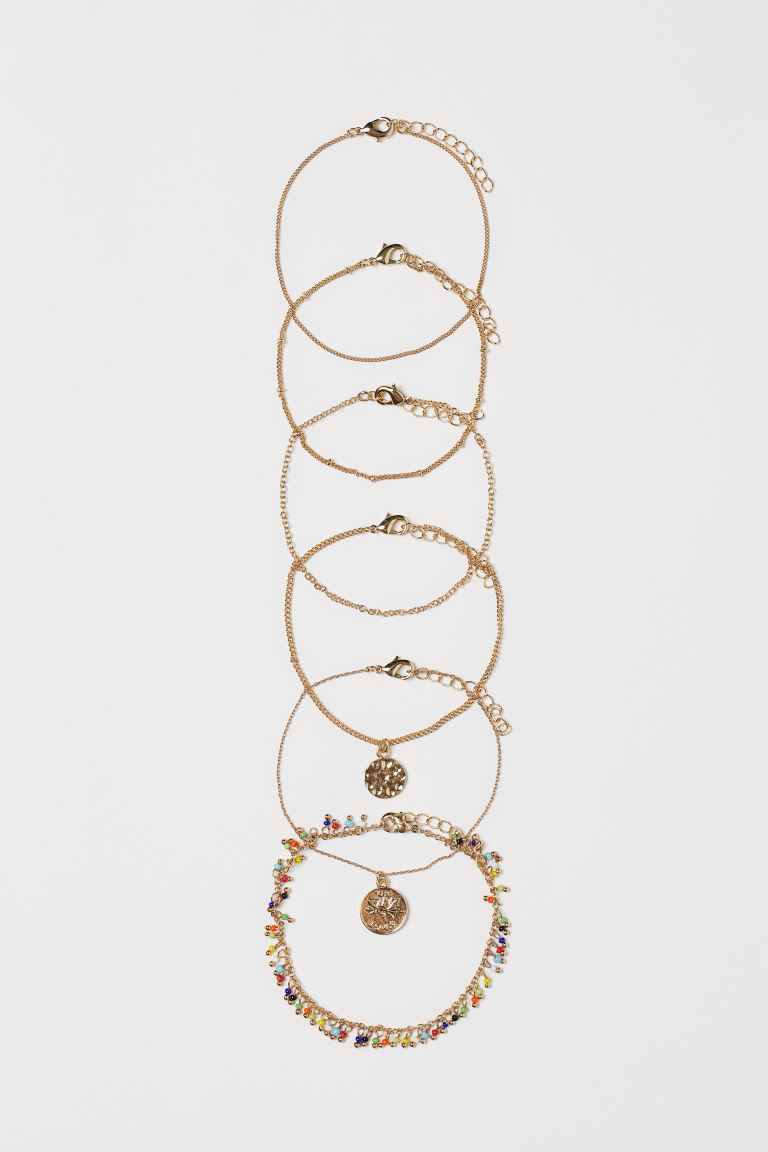 6-pack anklets - Gold-coloured/Multicoloured - Ladies | H&M GB