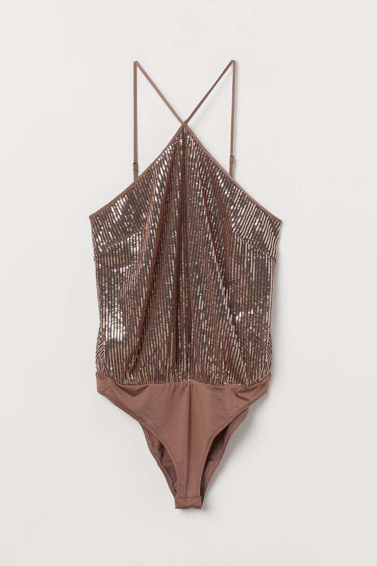 Sequined body - Rose gold-coloured - Ladies | H&M