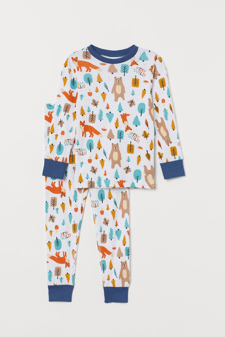 Jersey pyjamas - White/Forest - Kids | H&M