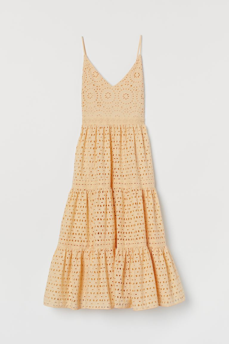 Broderie anglaise dress - Light yellow - Ladies | H&M GB