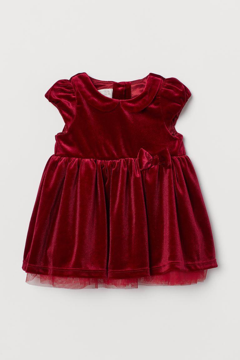 Puff-sleeved velour dress