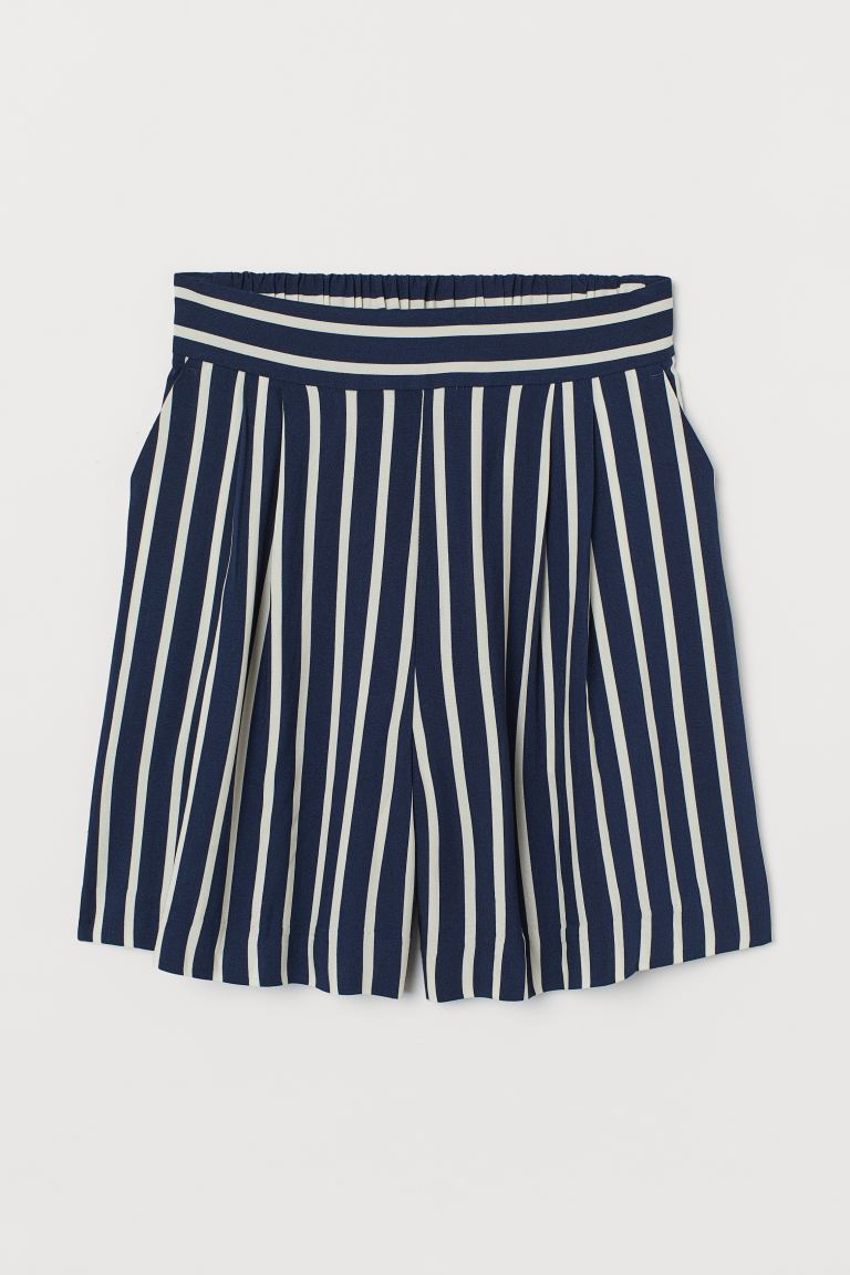 Shorts High Waist - Dark blue/Striped - Ladies | H&M