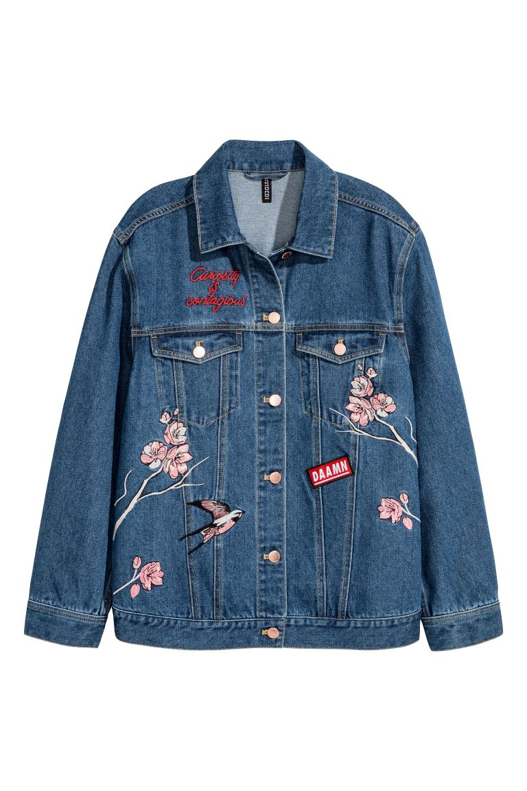 Embroidered denim jacket - Dark denim blue - Ladies | H&M GB