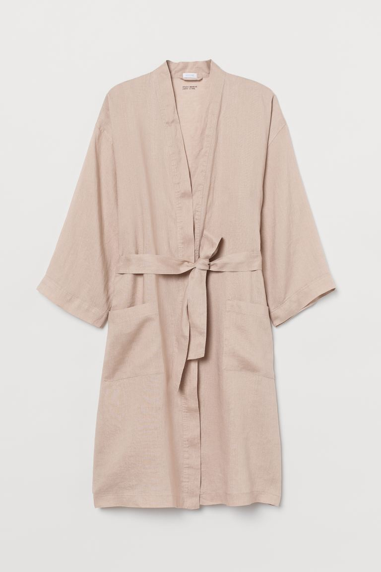 Washed Linen Bathrobe - Powder beige - Home All | H&M CA