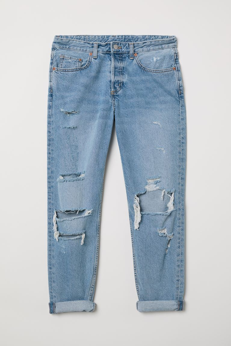 Boyfriend Low Ripped Jeans - Light denim blue/Trashed - Ladies | H&M US