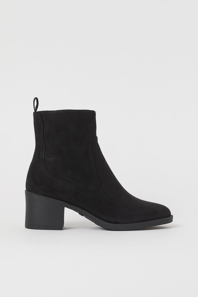 Block-heeled ankle boots - Black/Imitation suede - Ladies | H&M