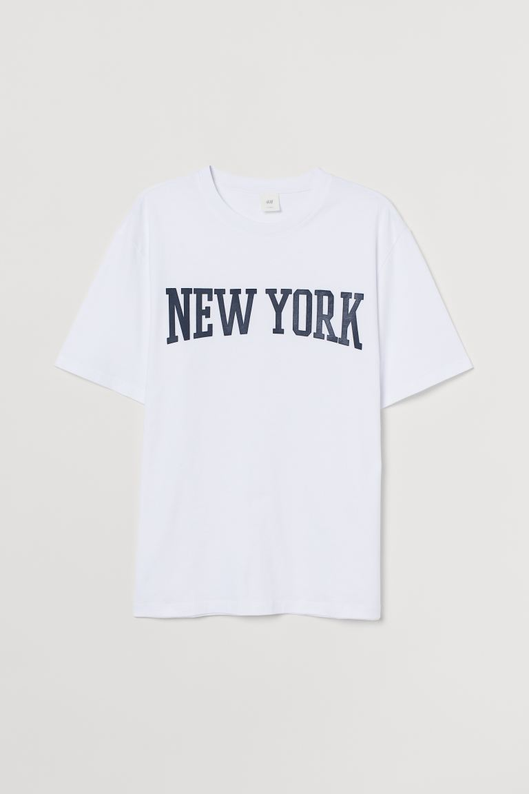 Printed T-shirt - White/New York - Men | H&M IN