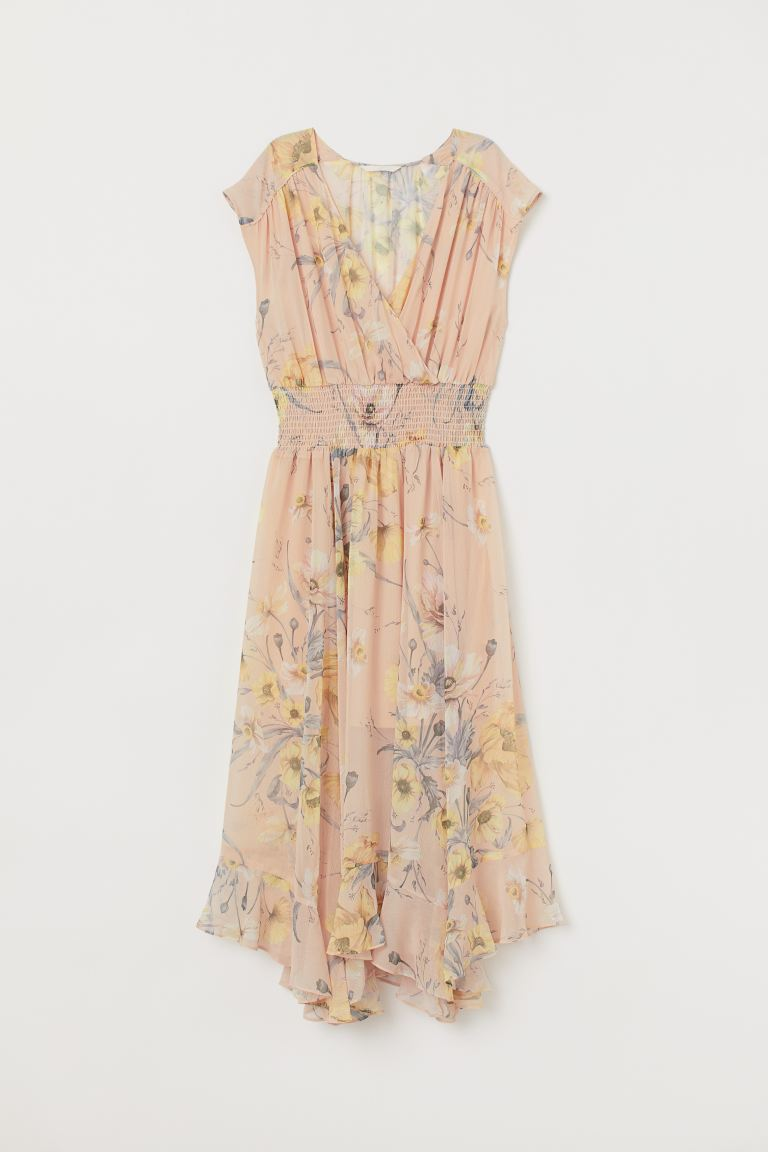 Dress with Smocking - Light beige/floral - Ladies | H&M CA