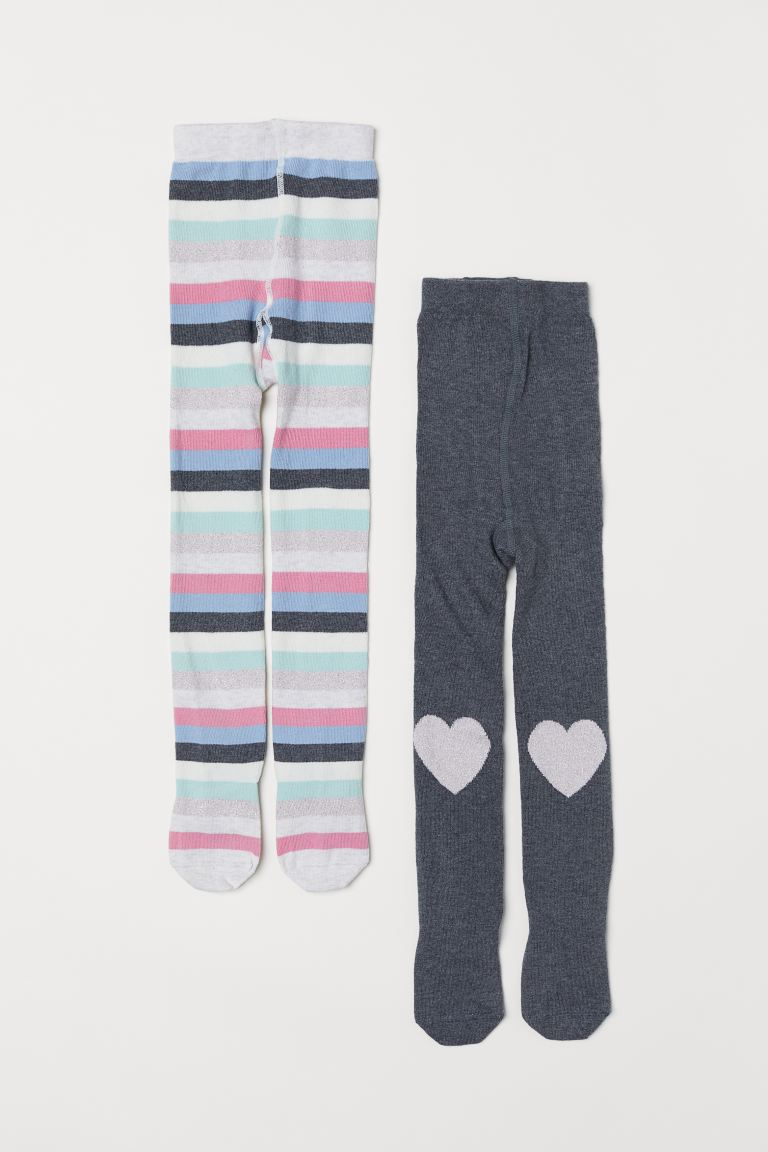 2-pack Fine-knit Tights - Light turquoise/striped - Kids | H&M US