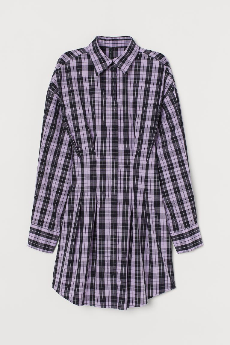 Cotton shirt dress - Purple/Black checked - Ladies | H&M IN