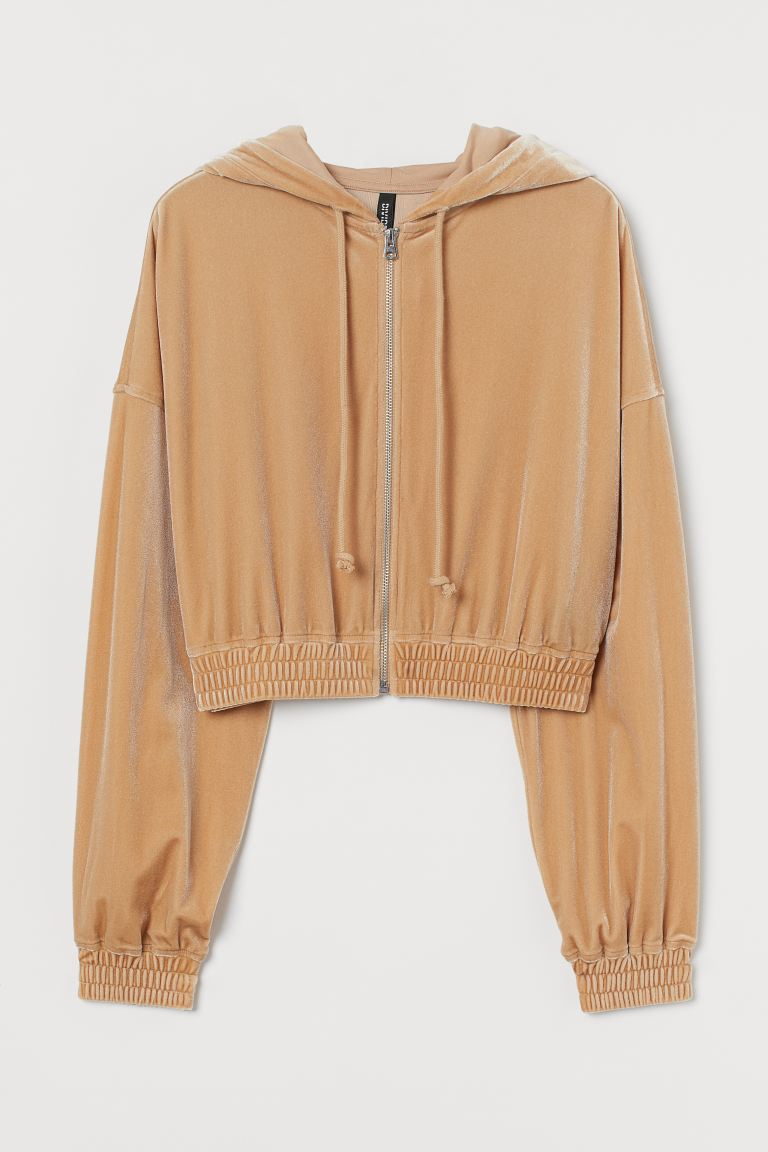 Cropped zip-through hoodie - Beige - Ladies | H&M