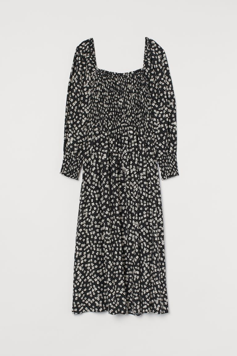 Smocking Detail Dress - Black/White floral - Ladies | H&M AU