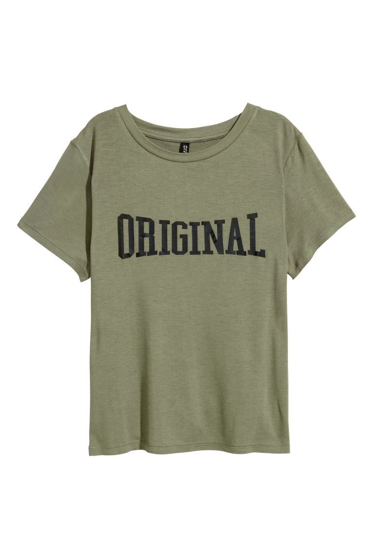 Jersey top with a motif - Khaki green - Ladies | H&M GB