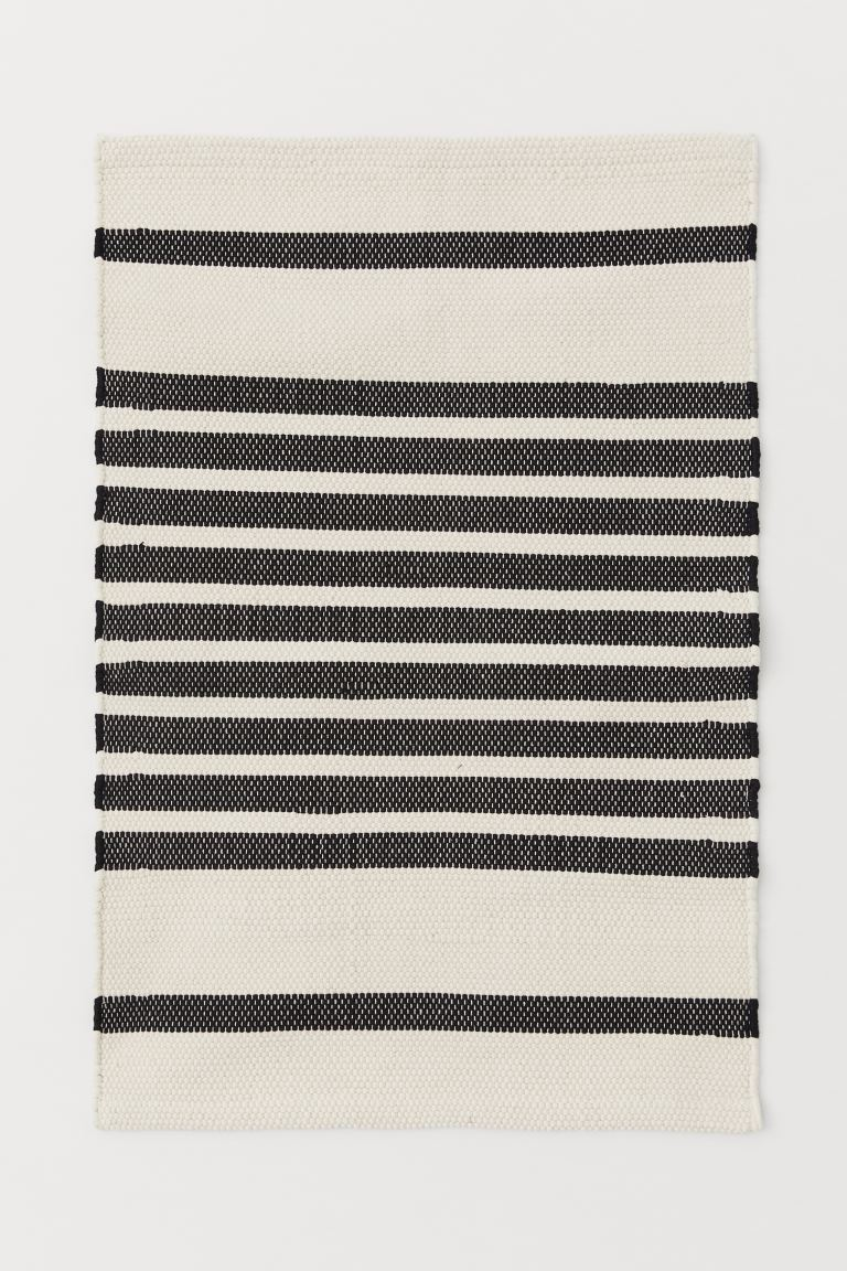 Striped Floor Mat - Natural white/black striped - Home All | H&M CA