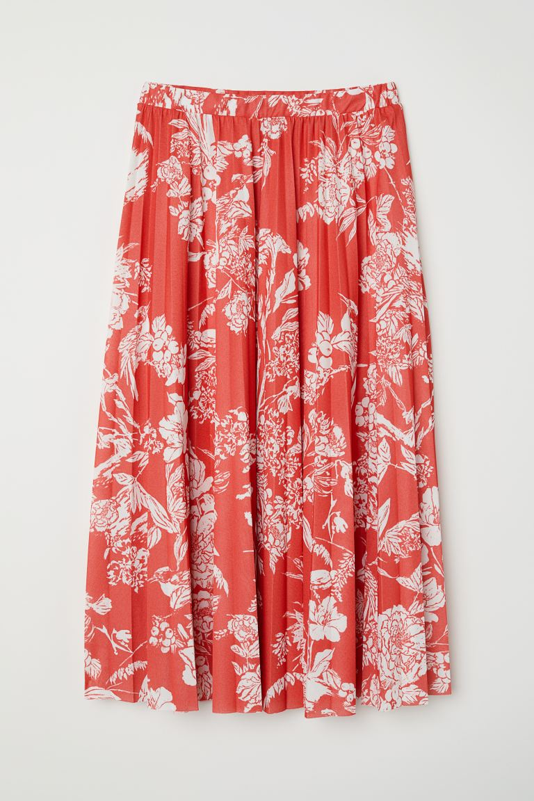 Pleated skirt - Bright red/Patterned - Ladies | H&M GB