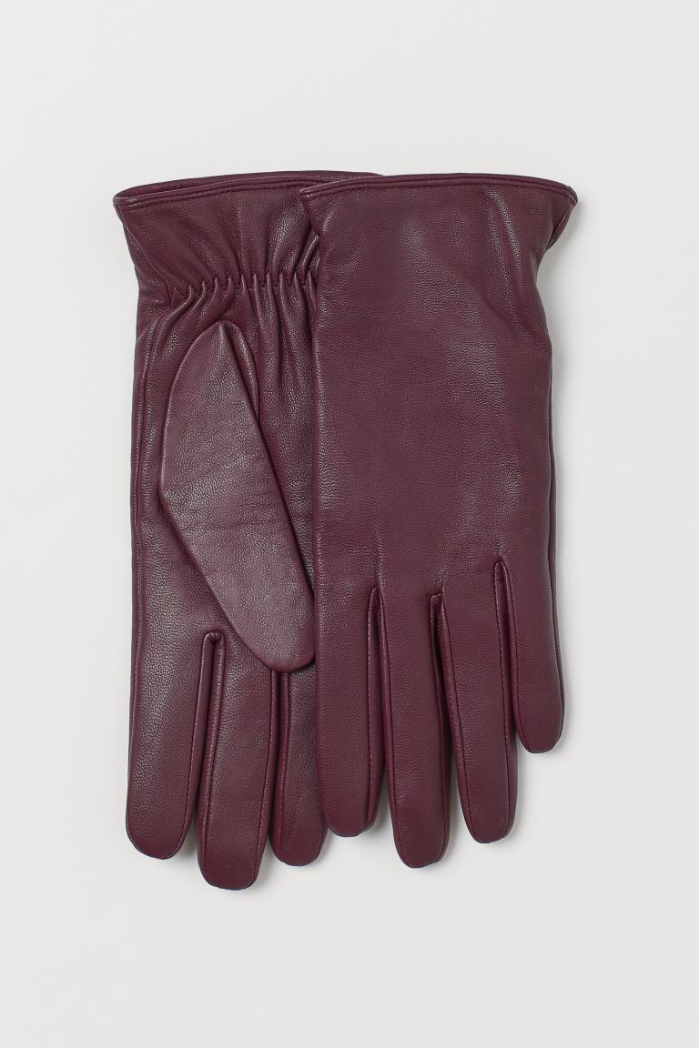 Leather Gloves - Burgundy - Ladies | H&M CA