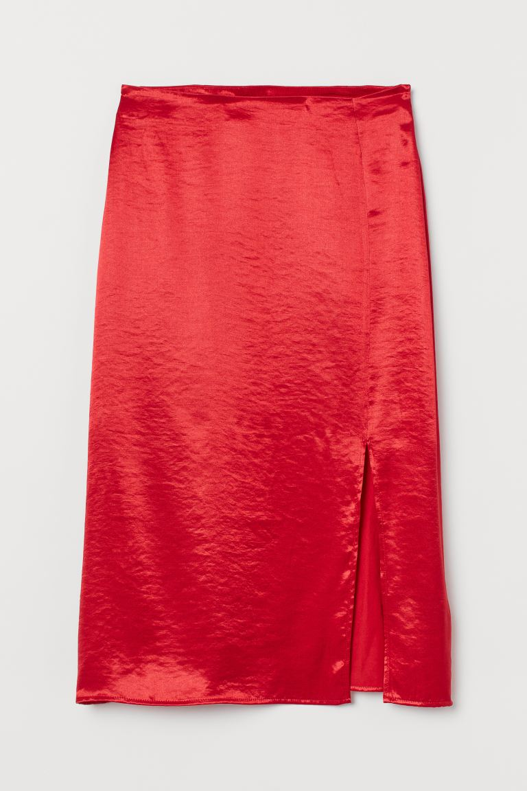 Satin Skirt - Red - Ladies | H&M US