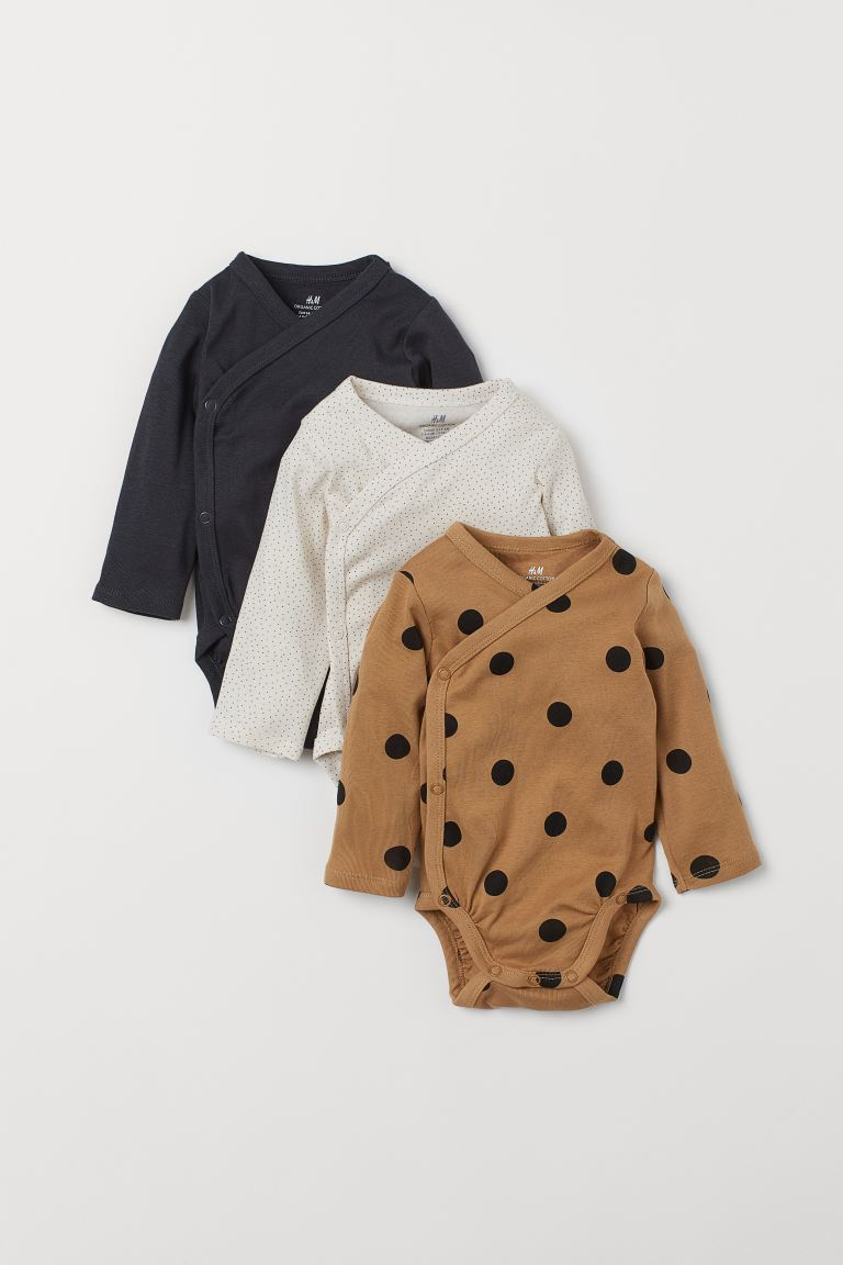 3-pack Long-sleeved Bodysuits - Dark beige/dotted - Kids | H&M US