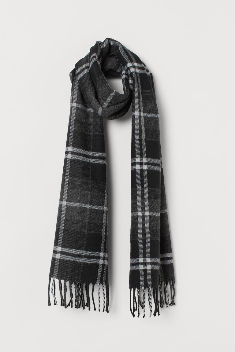 Patterned scarf - Black/Checked - Men | H&M IE