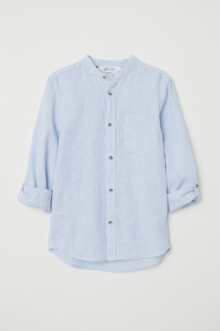 Henley Shirt - Light blue/striped - Kids | H&M CA