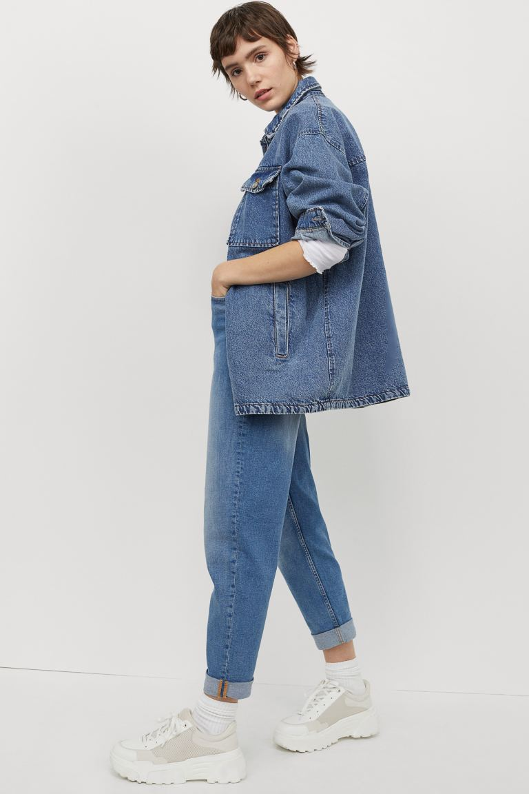 Mom High Ankle Jeans - Azul denim claro - SENHORA | H&M PT